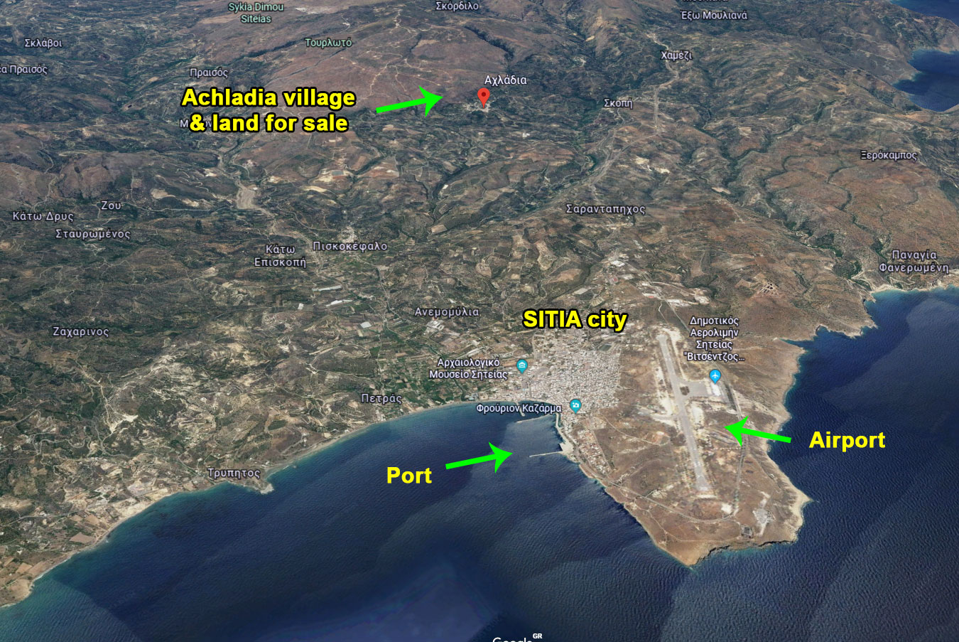 Plot for sale in the traditional village of Achladia near Sitia – Crete.